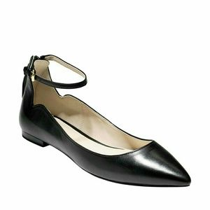 Cole Haan strapped black leather flats